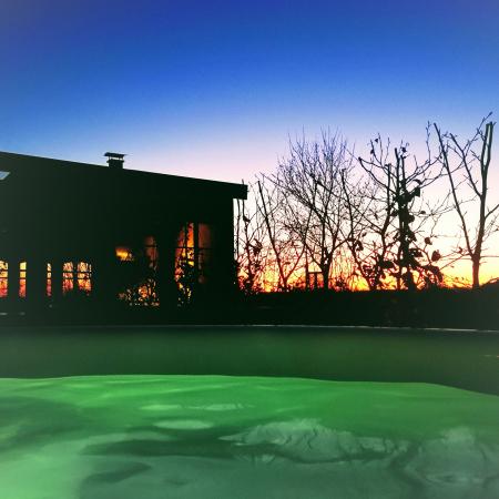 Solnedgång från badtunnan